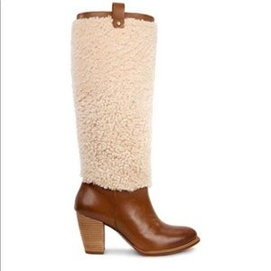 UGG Tall Shearling Brown Leather Ava Boots